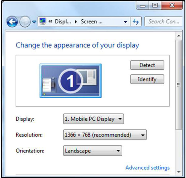 Gambar 12.9 Halaman pengaturan screen resolution
